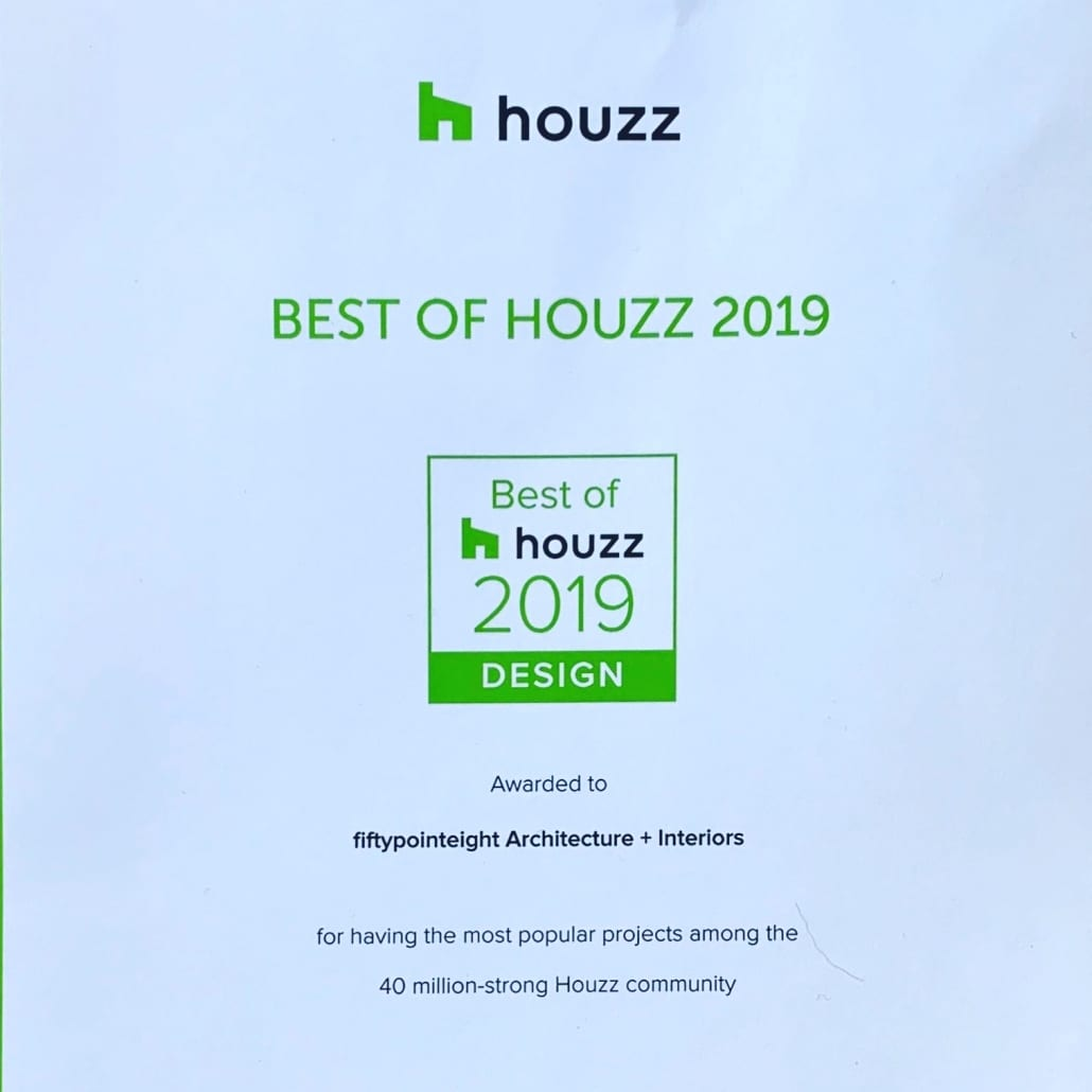 Photo of fiftypointeight's award certificate from Houzz