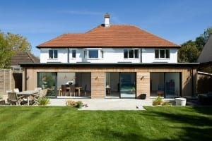 Single storey full width rear extension timber cladding