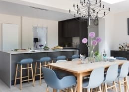 Large island unit in contemporary kitchen